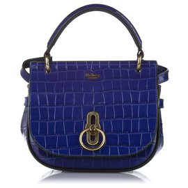 Mulberry-Mulberry Blue Croc Embossed Amberley Patent Leather Satchel-Blue