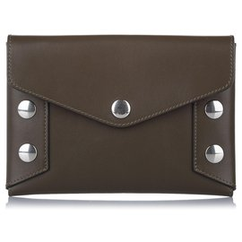 Mulberry-Mulberry Brown Envelope Studded Leather Clutch Bag-Brown