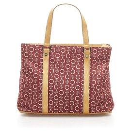 Céline-Celine Red C Macadam Canvas Handbag-Brown,Red,Light brown