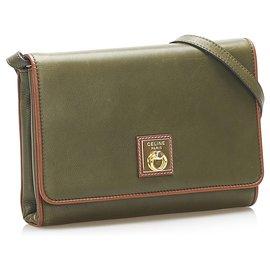 Céline-Celine Green Gancini Leather Crossbody Bag-Brown,Green