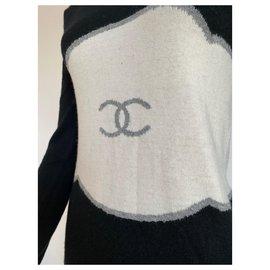 Chanel-Chanel bodycon logo long sleeve dress-Black