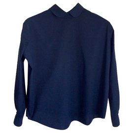 Acne-Navy cotton blouse-Navy blue