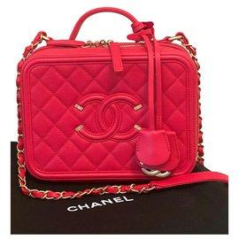 Chanel-Chanel Vanity Case Mittlere Tasche-Rot,Gold hardware