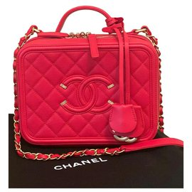 Chanel-Chanel Vanity Case Medium bag-Red,Gold hardware