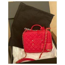 Chanel-Bolsa Chanel Vanity Case Média-Vermelho,Gold hardware