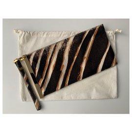 Balenciaga-Balenciaga Black Zebra Print Pony Hair Clutch Bag-Black,Multiple colors