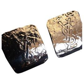 Yves Saint Laurent-YVES SAINT LAURENT.  YSL rectangular clips.-Gold hardware