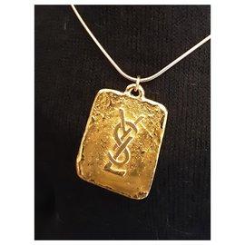 Yves Saint Laurent-YVES SAINT LAURENT.  YSL Rectangle Pendant.-Gold hardware