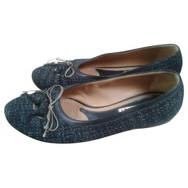 Marni-Ballet flats from leather and tweet, UK 4-Black,Grey