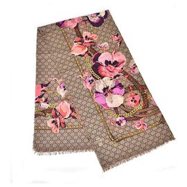 Gucci-GUCCI FLORAL SHAWL SCARF WOOL NEW-Multiple colors