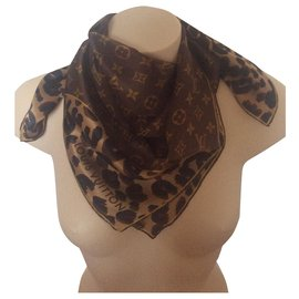Louis Vuitton-Silk scarf-Brown