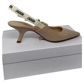 Dior-DIOR J'ADIOR SLINGBACK PUMP TALONS CHATON NUDE CUIR VERNI BEIGE-Beige