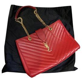 Saint Laurent-Monogram shopping-Red