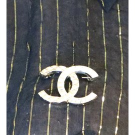 Chanel-Chanel Gold Crystals CC Baguette Hardware Brooch-Golden