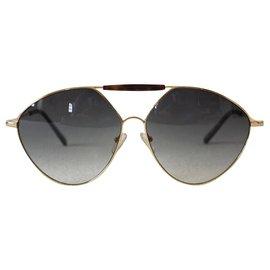 Valentino Garavani-Sunglasses-Brown,Golden