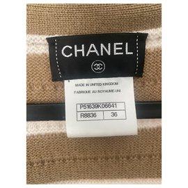 Chanel-Tricots-Blanc,Marron clair