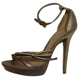Burberry-Muted gold high heeled sandals-Golden,Metallic,Bronze