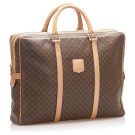 Céline-Celine Brown Macadam Business Bag-Brown