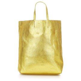 Céline-Celine Gold Vertical Cabas Tote-Golden