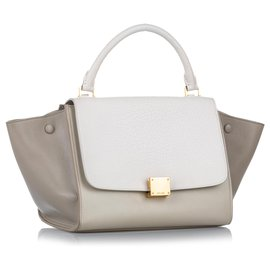 Céline-Celine White Trapeze Leather Satchel-White,Other,Grey