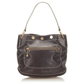 Céline-Celine Brown Leather Shoulder Bag-Brown,Dark brown