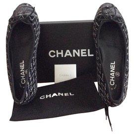 Chanel-Tweed ballet flats-Black,Silvery