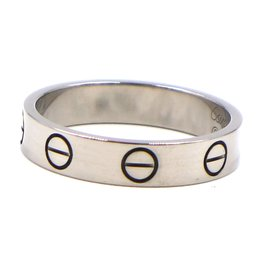Cartier-Cartier White Gold 18K 750 Love Ring Size 49-Silvery