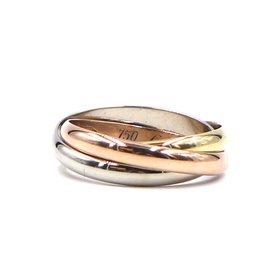 Cartier-cartier 18K 750 Tricolor Trinity Ring Size 50-Multiple colors