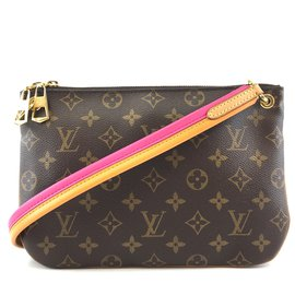 Louis Vuitton-Louis Vuitton Lorette Cross Body Bag Pink Monogram Canvas-Brown