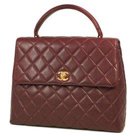 Chanel-CHANEL Kelly type matelasse Womens handbag Bordeaux x gold hardware-Other,Gold hardware