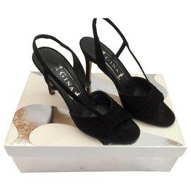 Gina-Gina suede Serena sandals in black-Black