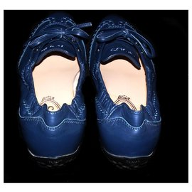Tod's-TOD'S LEATHER LACE UP SCRUNCH LOW-TOP SNIKERS-Blue