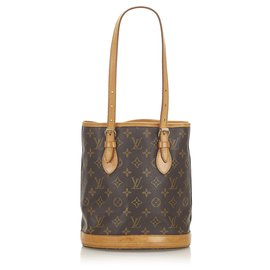 Louis Vuitton-Louis Vuitton Brown Monogram Petit Bucket-Brown,Dark brown
