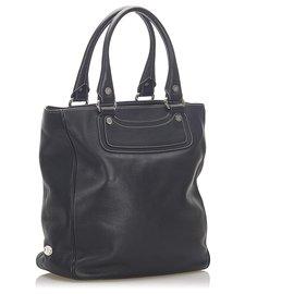 Céline-Celine Black Boogie Leather Tote Bag-Black