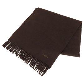 Hermès-Hermes Brown Cashmere Scarf-Brown,Dark brown