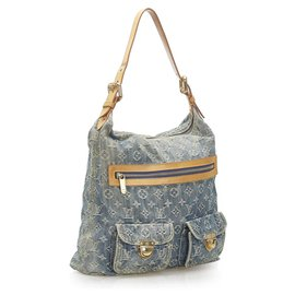 Louis Vuitton-Louis Vuitton Blue Monogram Denim Baggy GM-Brown,Blue,Other