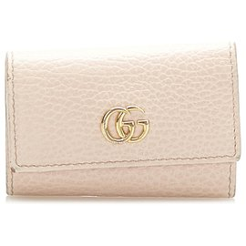 Gucci-Gucci Brown GG Marmont Leather Key Holder-Brown,Beige