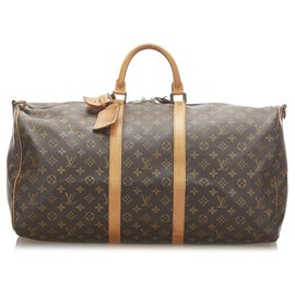 Louis Vuitton-Louis Vuitton Brown Monogram Keepall 55-Brown,Dark brown