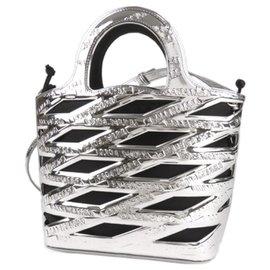 Balenciaga-Balenciaga Silver Neo Basket Leather Satchel-Black,Silvery