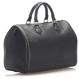 Louis Vuitton-Louis Vuitton Black Epi Speedy 30-Black