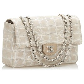 Chanel-Chanel Brown New Travel Line Classic Canvas Flap Bag-Brown,Beige