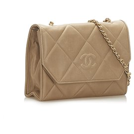 Chanel-Chanel Brown CC Timeless Lambskin Leather Flap Bag-Brown,Beige
