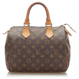 Louis Vuitton-Louis Vuitton Brown Monogram Speedy 25-Brown,Dark brown