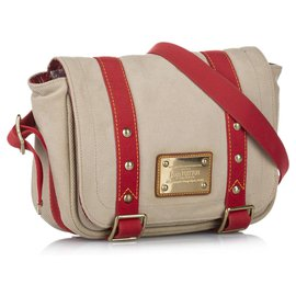 Louis Vuitton-Louis Vuitton Brown Antigua Besace PM-Brown,Red,Beige