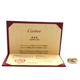Cartier-cartier 18K 750 Tricolor Trinity Ring Size 55-Multiple colors