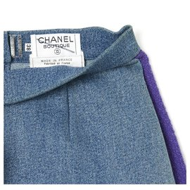 Chanel-FW1991 DENIM TWEED FR36-Blue