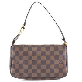 Louis Vuitton-Louis Vuitton Accessory Pochette Damier Ebene Canvas-Brown