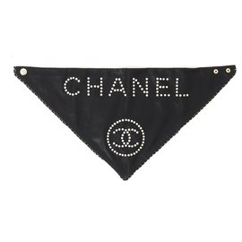 Chanel-Black Leather Bandana-Black