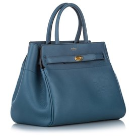Mulberry-Mulberry Blue Zipped Bayswater Leather Handbag-Blue