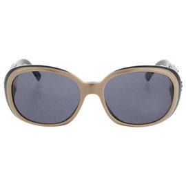 Chanel-Chanel Brown Camellia Motif Coco Mark Sunglasses-Brown,Black,Beige